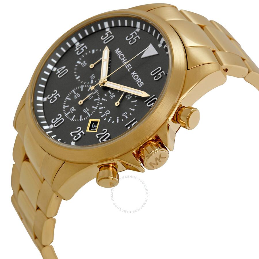 99ebfbf3d5e6 ... Michael Kors Gage Chronograph Black Dial Gold-tone Men s Watch MK8361  ...