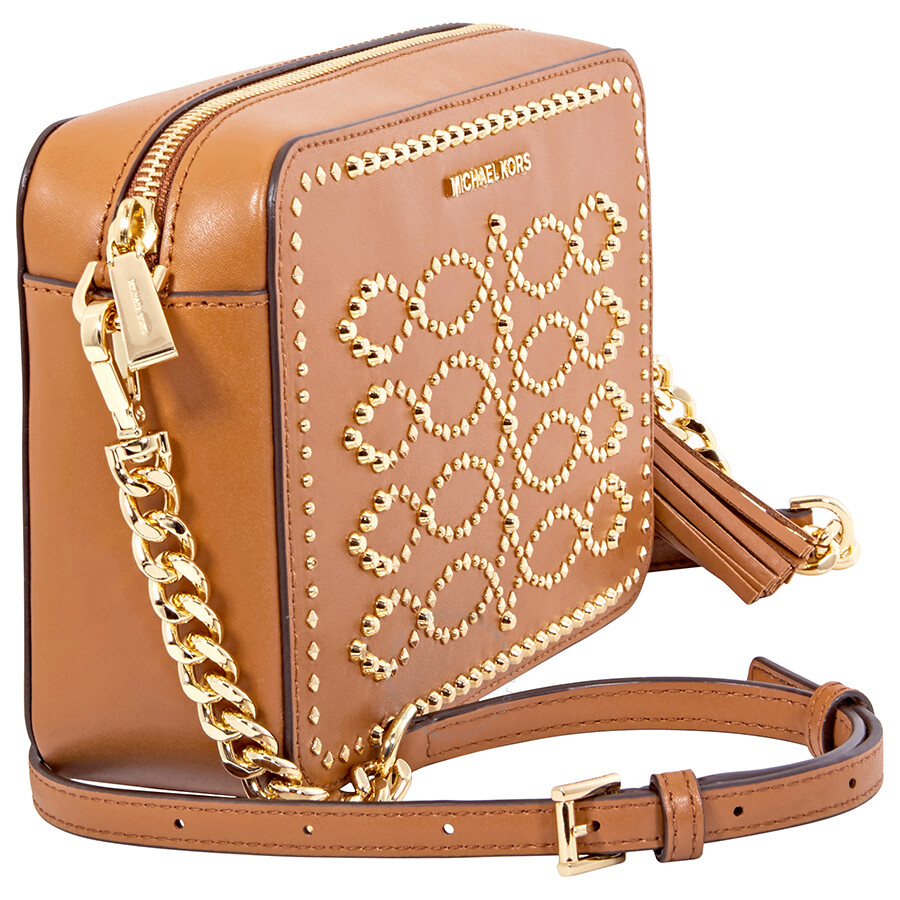 db3cb1c09dff Michael Kors Ginny Medium Studded Leather Crossbody- Acorn - Ginny ...