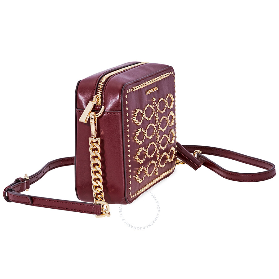 40226cc790c0 Michael Kors Ginny Medium Studded Leather Crossbody- Oxblood - Ginny ...