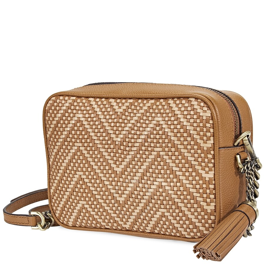 b89f87bee401 Michael Kors Ginny Medium Woven Leather Crossbody- Acorn/Butternut Item No.  32H8BF5M2U-211