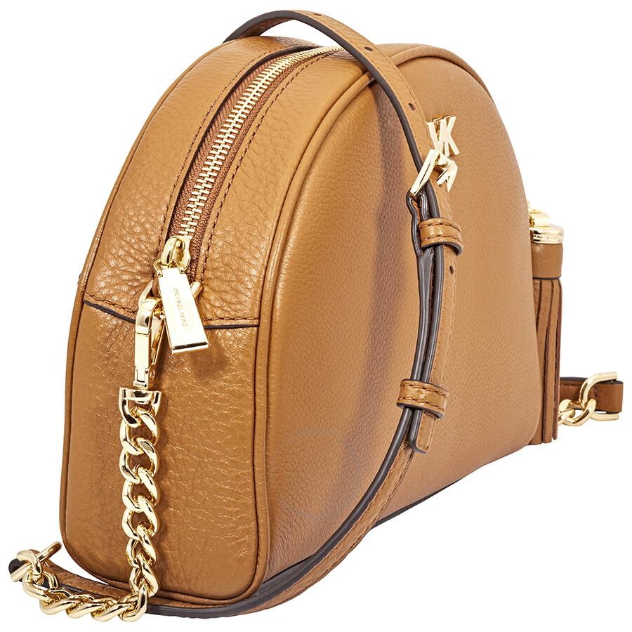 d66e7c8a65bb Michael Kors Ginny Pebbled Leather Half-Moon Crossbody Bag- Acorn ...