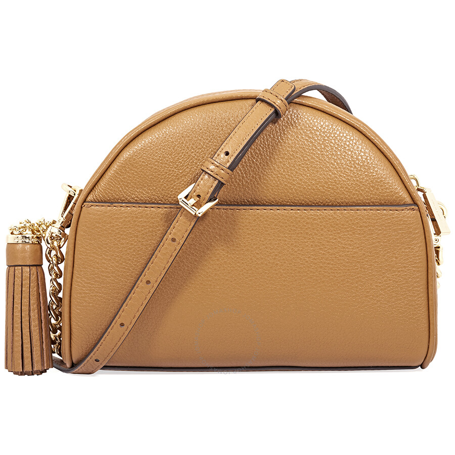 96c03dd27a38 Michael Kors Ginny Pebbled Leather Half-Moon Crossbody Bag- Acorn Item No.  32F8GF5C0L-203