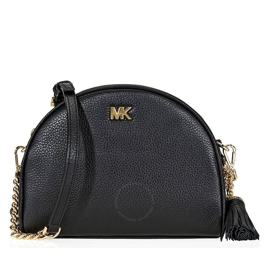 9d16d2ee393f Michael Kors Ginny Pebbled Leather Half-Moon Crossbody Bag- Black Item No.  32F8GF5C0L-001