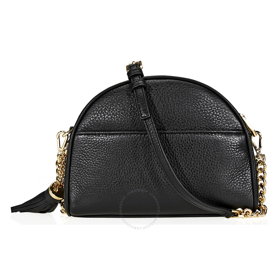 6c5ae894b3ee Michael Kors Ginny Pebbled Leather Half-Moon Crossbody Bag- Black ...