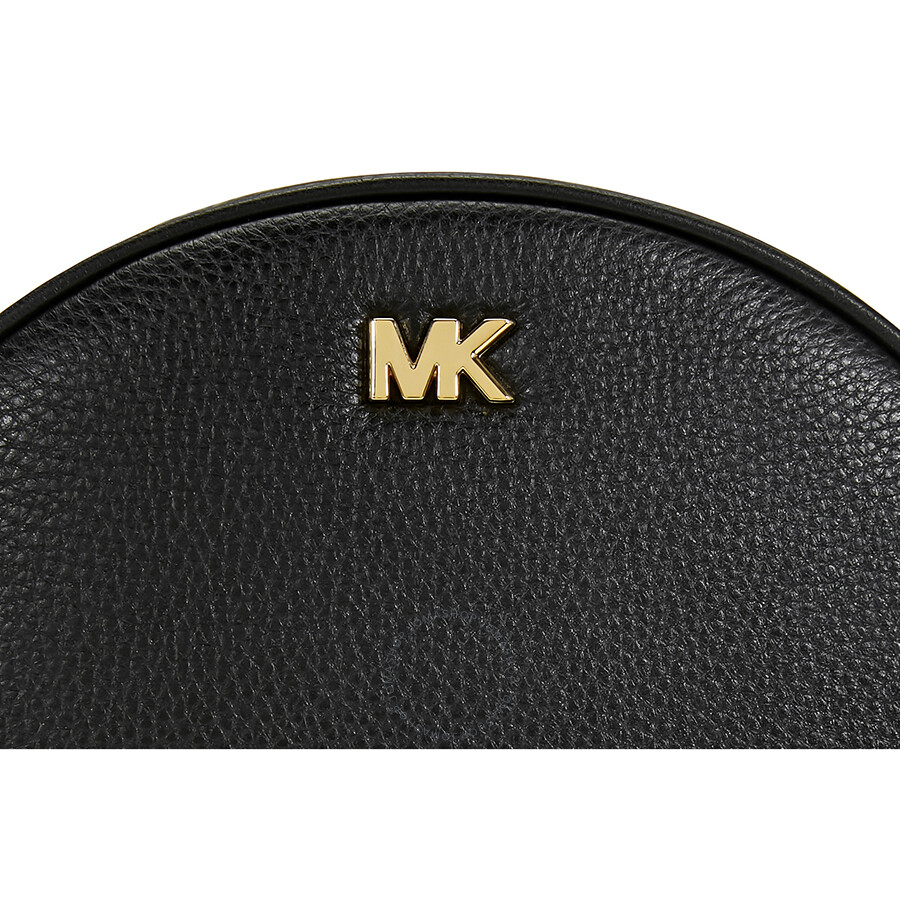37d6b460b285 Michael Kors Ginny Pebbled Leather Half-Moon Crossbody Bag- Black ...