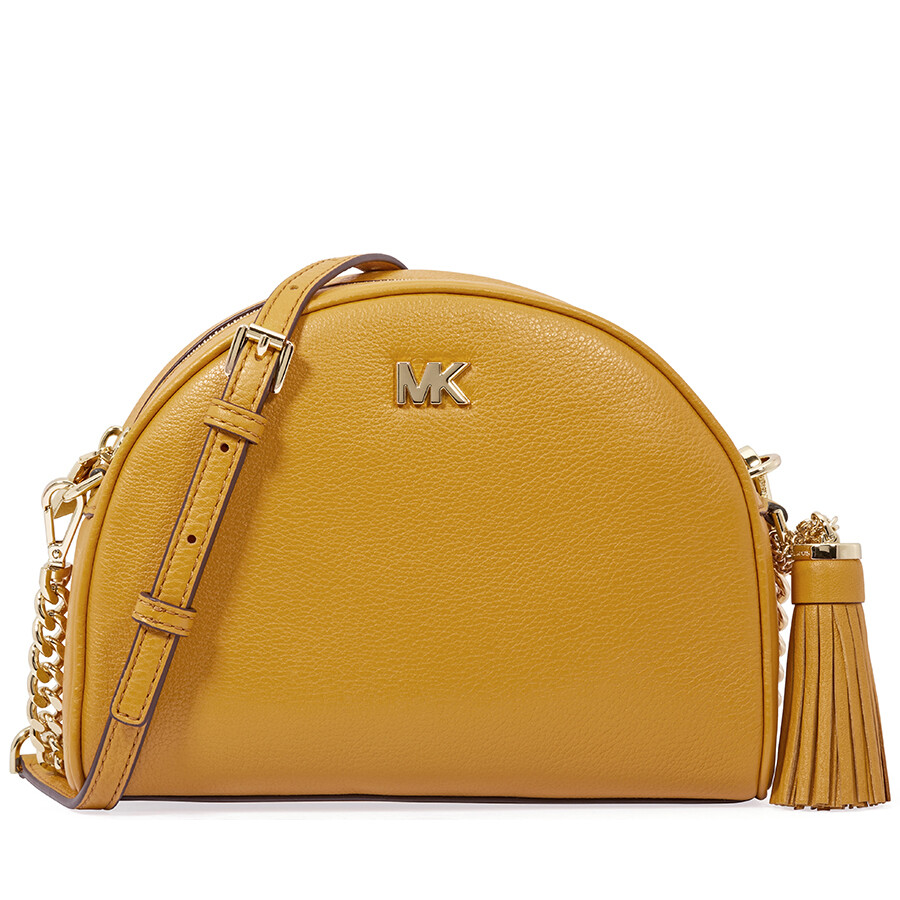 4240ff1ba6 Michael Kors Ginny Pebbled Leather Half-Moon Crossbody Bag- Marigold ...