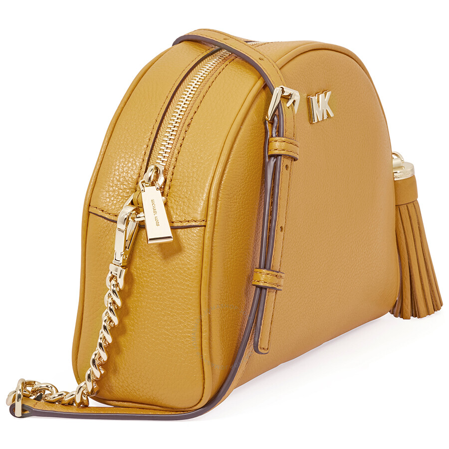 Michael Kors Ginny Pebbled Leather Half-Moon Crossbody Bag- Marigold ... 2ef280bd41be6