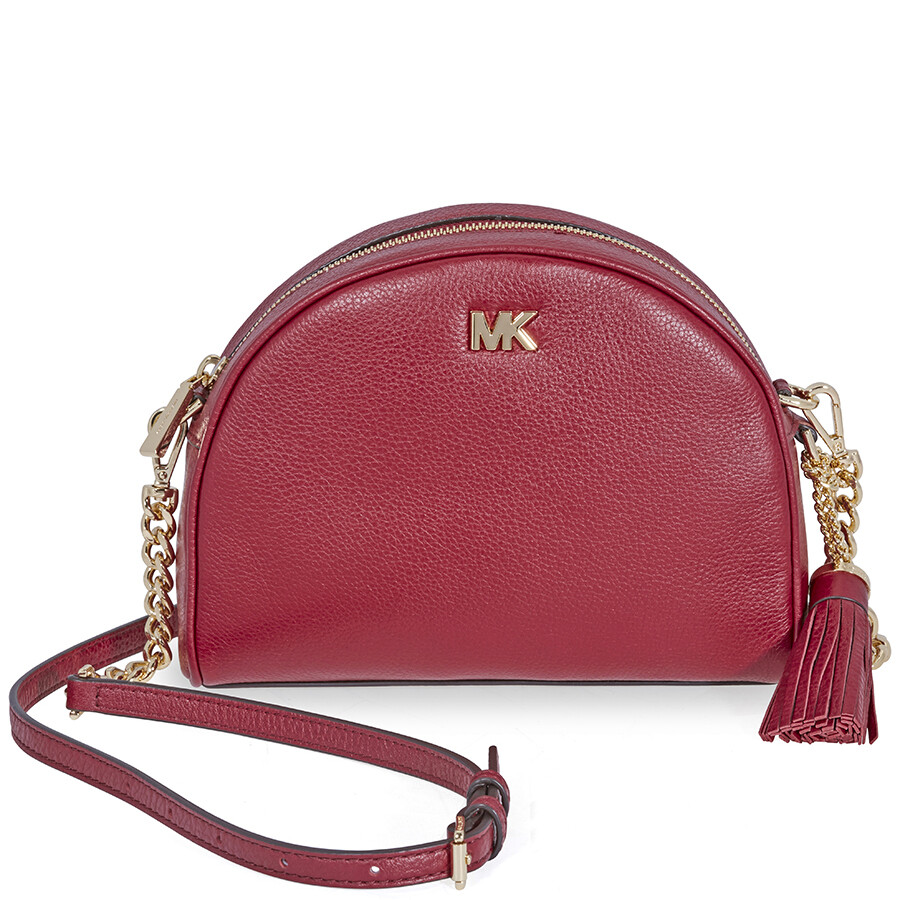 5166db96f606 Michael Kors Ginny Pebbled Leather Half-Moon Crossbody Bag- Maroon ...