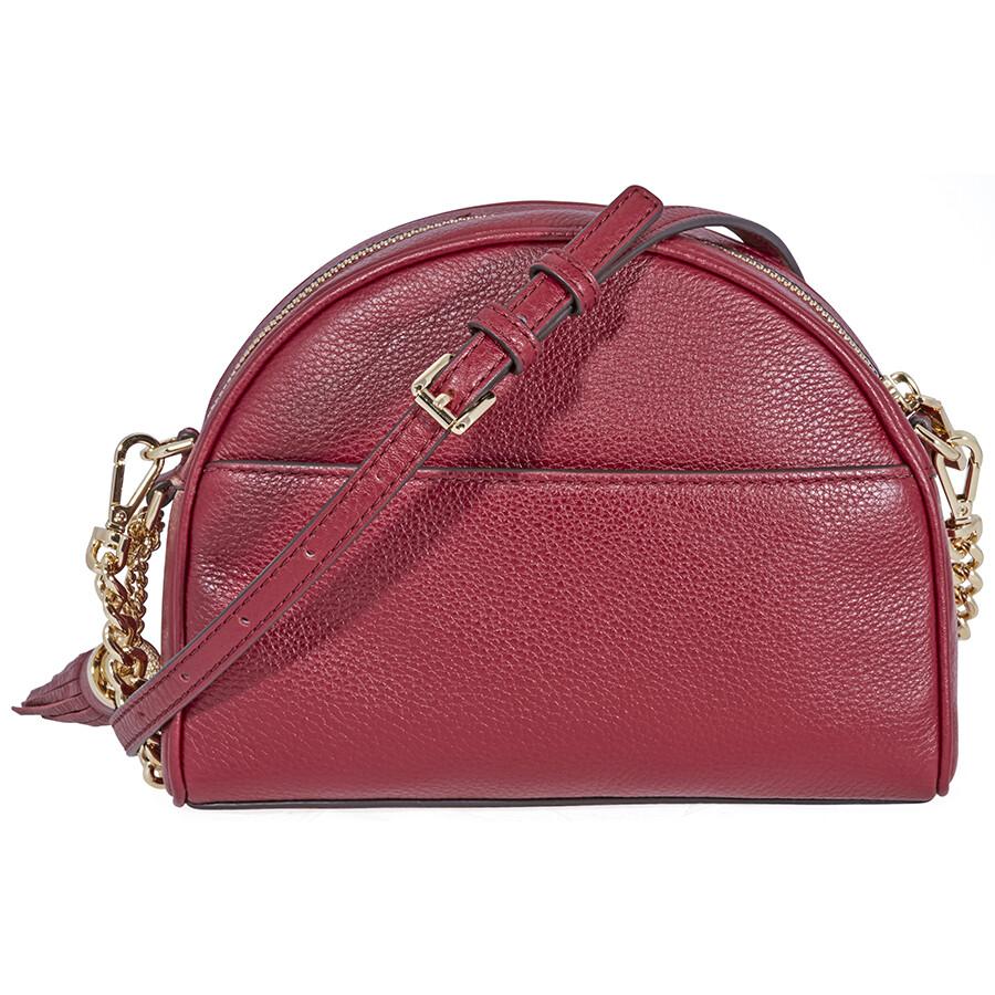 047afac11a Michael Kors Ginny Pebbled Leather Half-Moon Crossbody Bag- Maroon Item No.  32F8GF5C0L-550