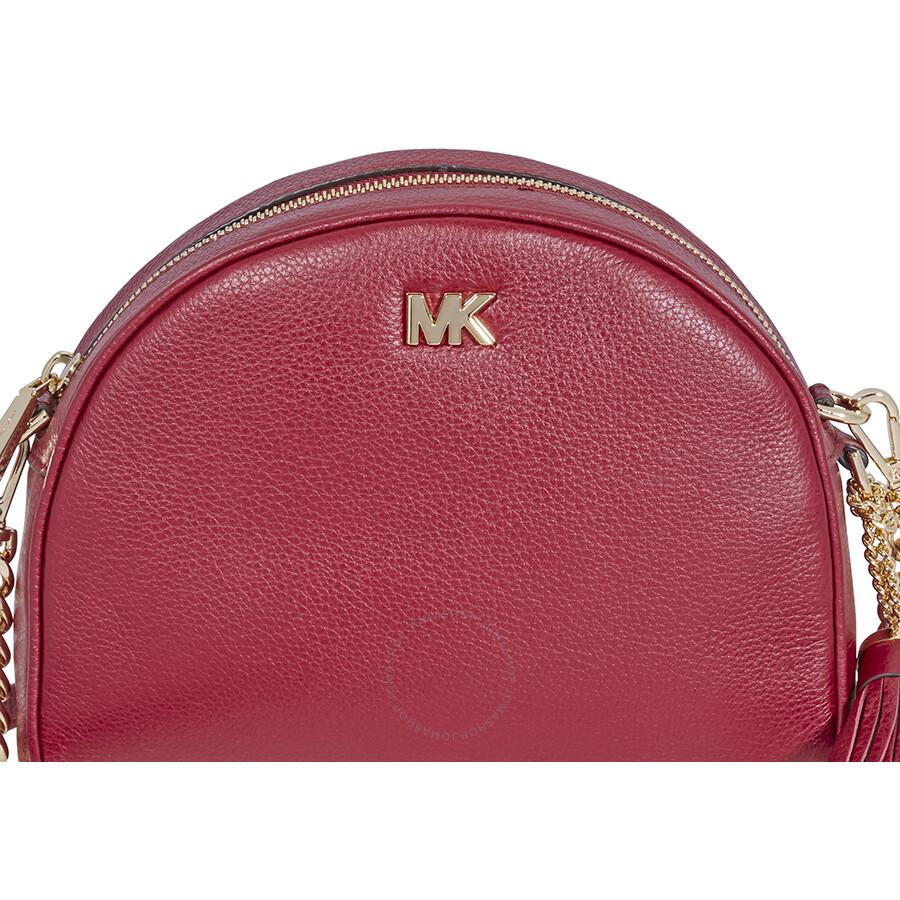 5166db96f606 Michael Kors Ginny Pebbled Leather Half-Moon Crossbody Bag- Maroon ...