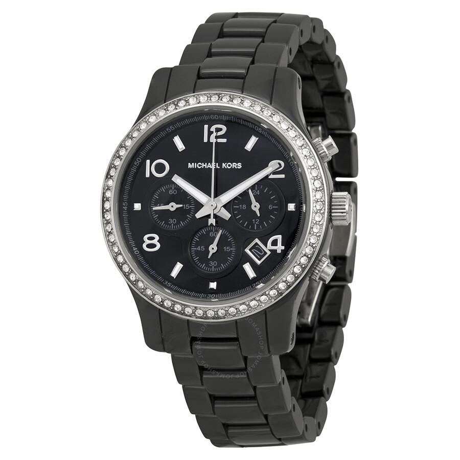 Michael Kors Glitz Runway Chronograph Ceramic Black Dial ... Michael Kors Watches Black Ceramic