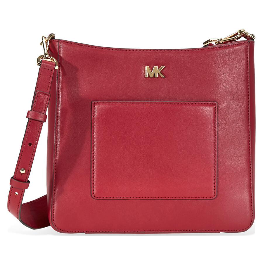 d379e07e328c Michael Kors Gloria Leather Messenger Bag- Maroon - Michael Kors ...