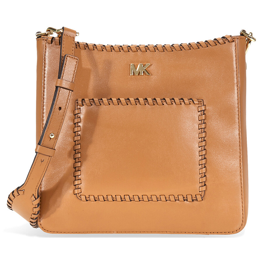 95177ebdeec48b Michael Kors Gloria Whipstitched Leather Messenger Bag- Acorn ...