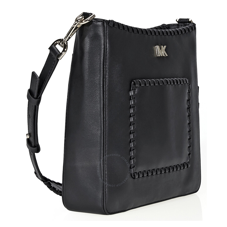 58b8797e12 Michael Kors Gloria Whipstitched Leather Messenger Bag- Black ...