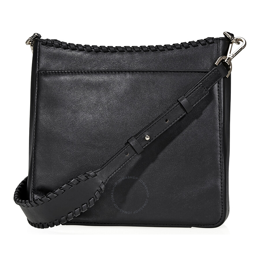 Michael Kors Gloria Whipsched Leather Messenger Bag Black