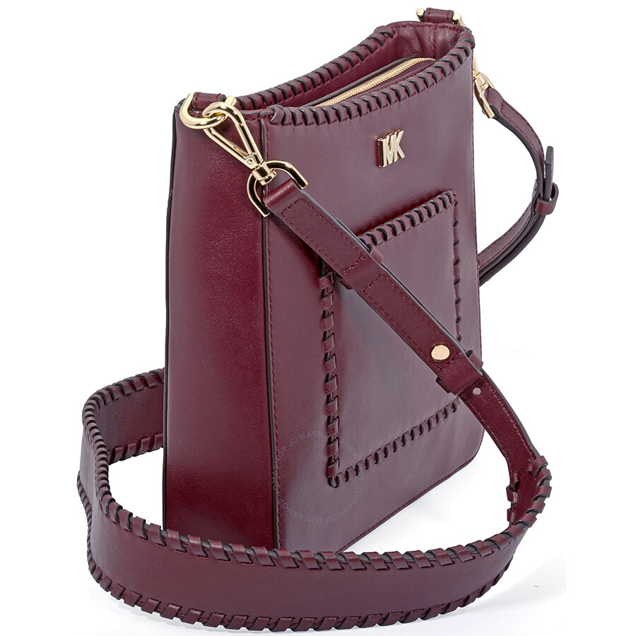 df8b9dfd91cb Michael Kors Gloria Whipstitched Leather Messenger Bag- Oxblood ...