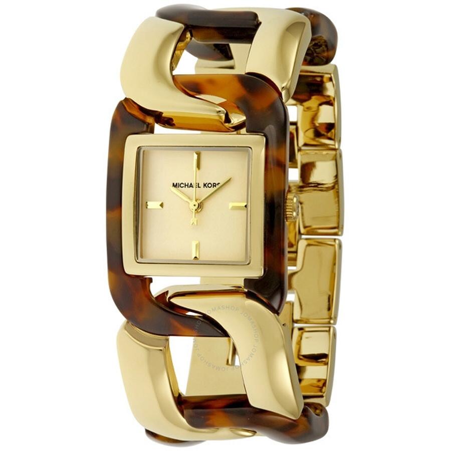 86e9ae45f169 Michael Kors Gold-tone and Tortoise Acrylic Multi-Link Bracelet Ladies Watch  MK4229 ...