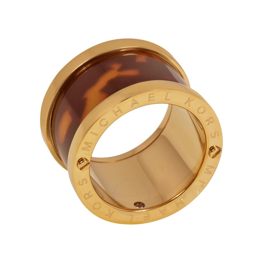 michael kors gold tone tortoise acetate ring size 6 mkj1610710 michael kors ladies jewelry. Black Bedroom Furniture Sets. Home Design Ideas