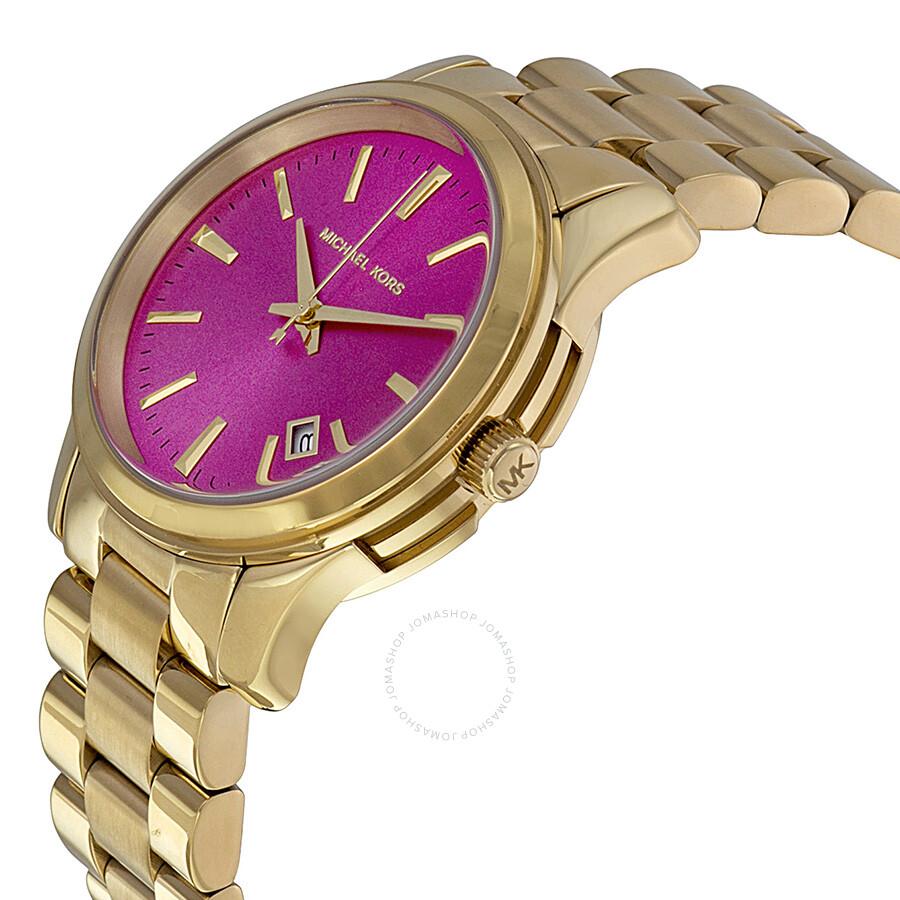 fbf2ff1a8436 ... Michael Kors Golden Runway Pink Dial Gold-tone Ladies Watch MK5801 ...