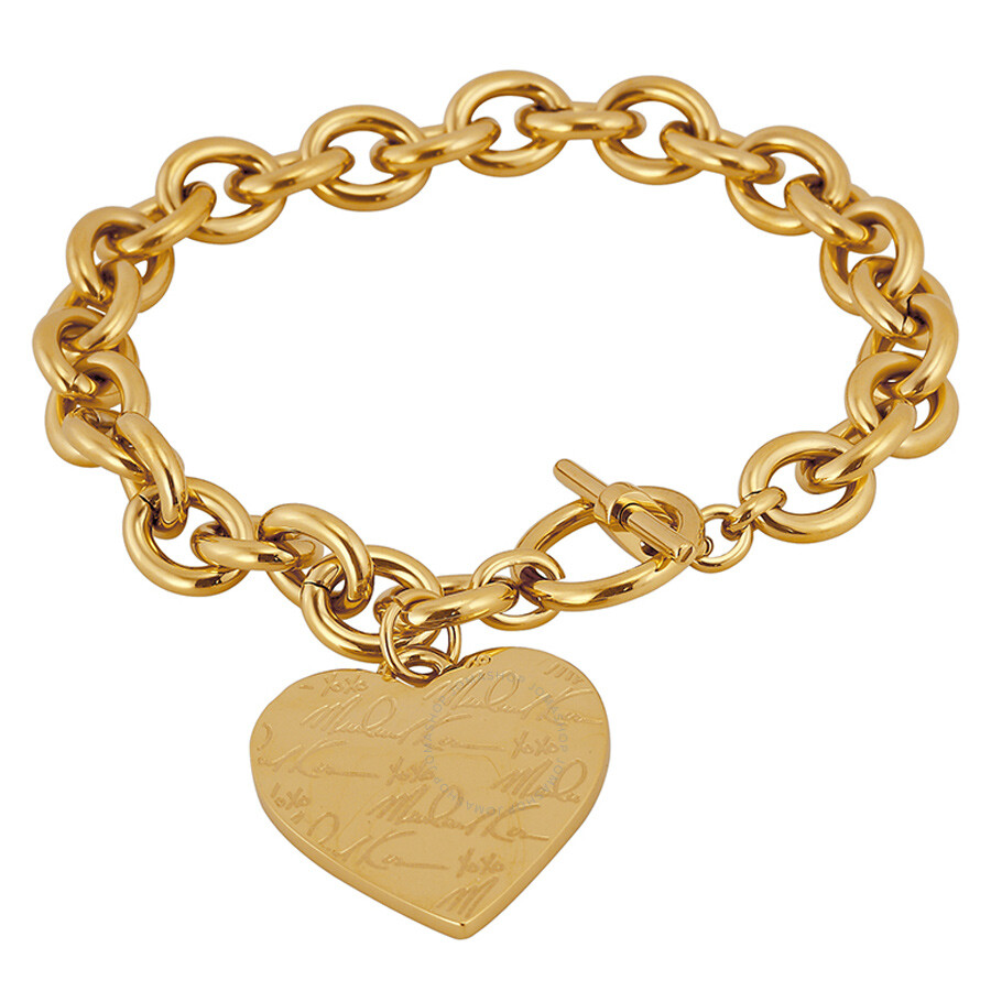 michael kors golden tone bracelet with heart charm mkj3963710 michael kors ladies jewelry. Black Bedroom Furniture Sets. Home Design Ideas