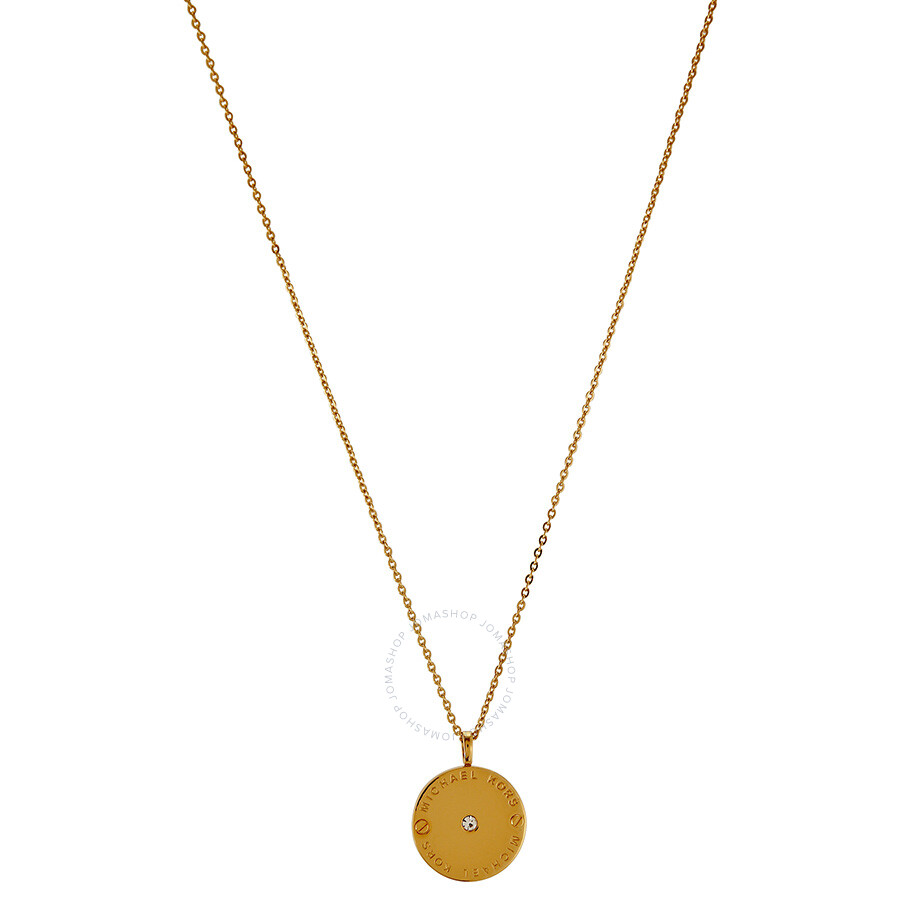 Michael Kors Gold-Tone Logo Disc Necklace MKJ2654710 ...