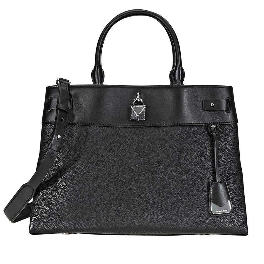 Michael Kors Gramercy Large Pebbled Leather Satchel Black