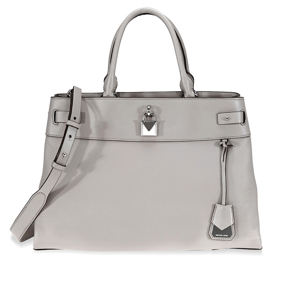 0f48a63ad9 Michael Kors Gramercy Large Pebbled Leather Satchel - Pearl Grey Item No.  30S8SG7S3L-081
