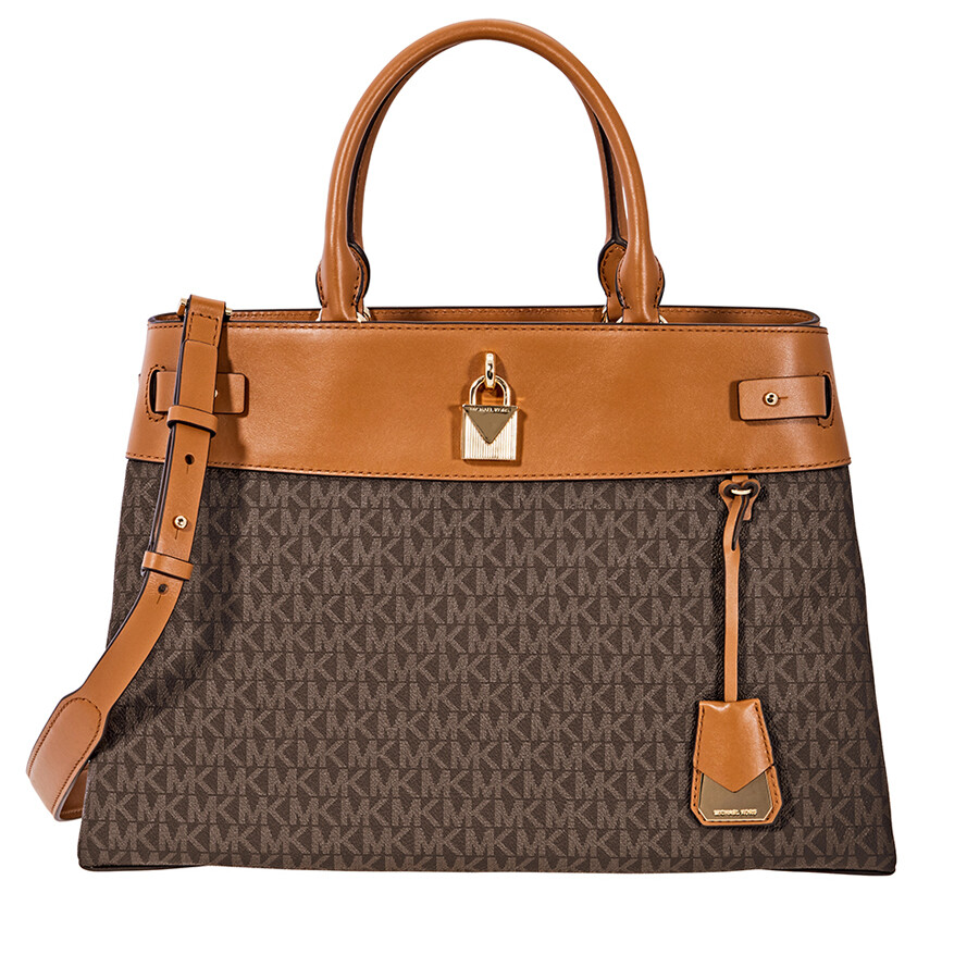 3355e0be7f64 Michael Kors Gramercy Large Signature Logo Print Satchel- Brown ...