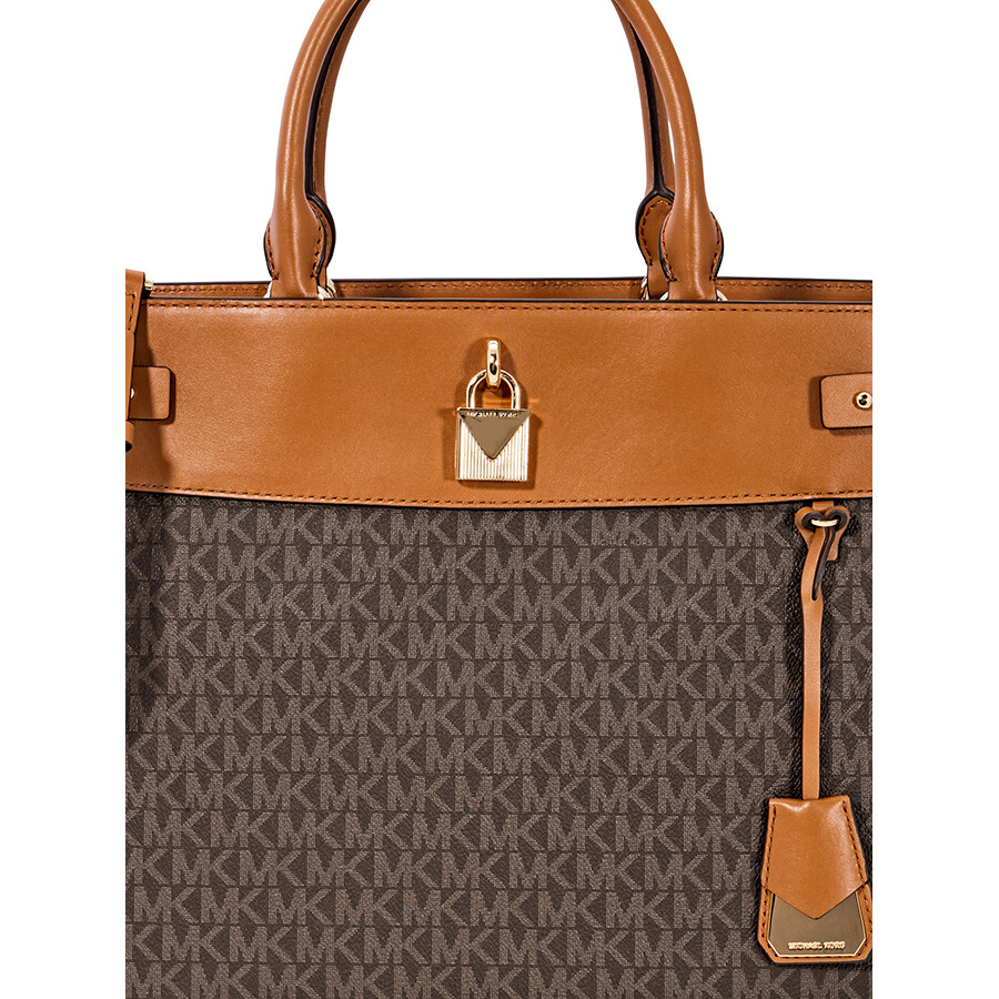fc461758745f Michael Kors Gramercy Large Signature Logo Print Satchel- Brown Item No.  30H8GG7S3B-200