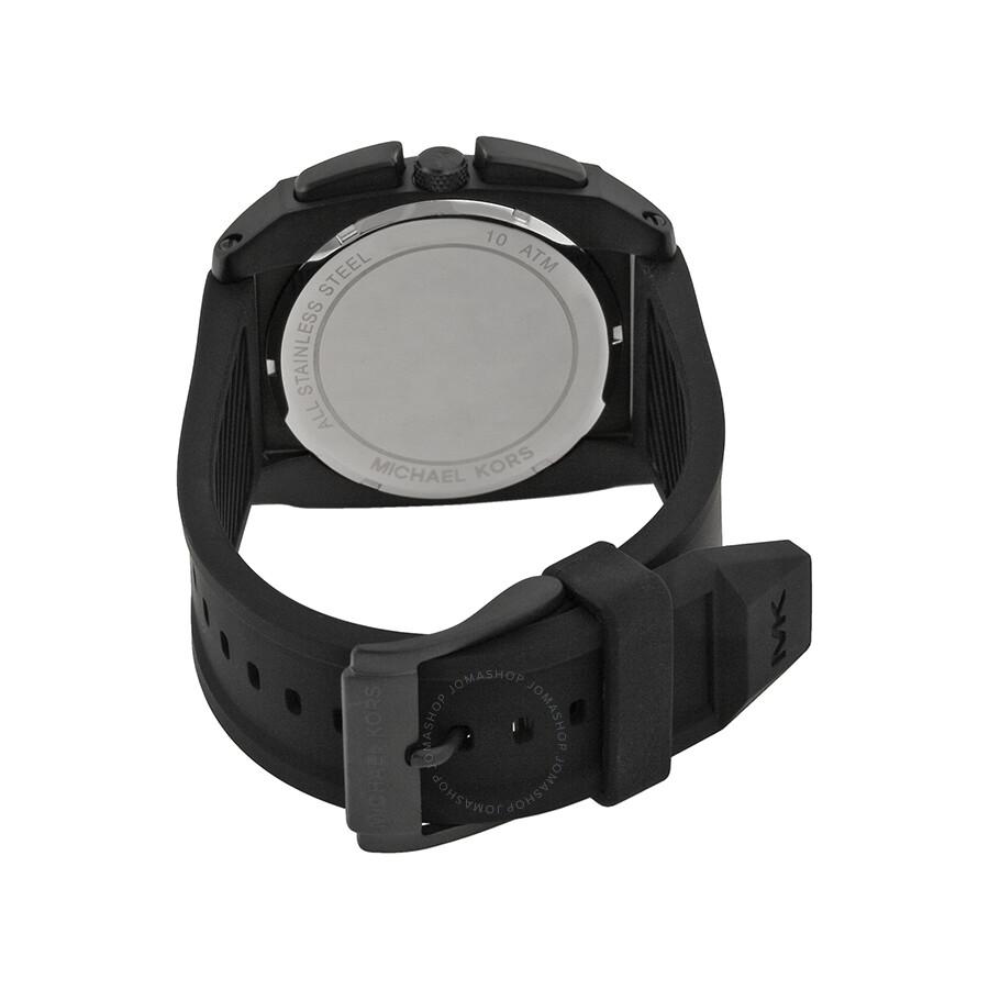 bb51e73f872b ... Michael Kors Grandstand Chronograph Black Sandblasted Dial Black  Silicone Men s Watch MK8390 ...