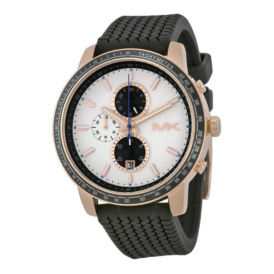 6ad1309b0141 Michael Kors Granger Chronograph White Dial Black Silicone Men s Watch  MK8343 ...
