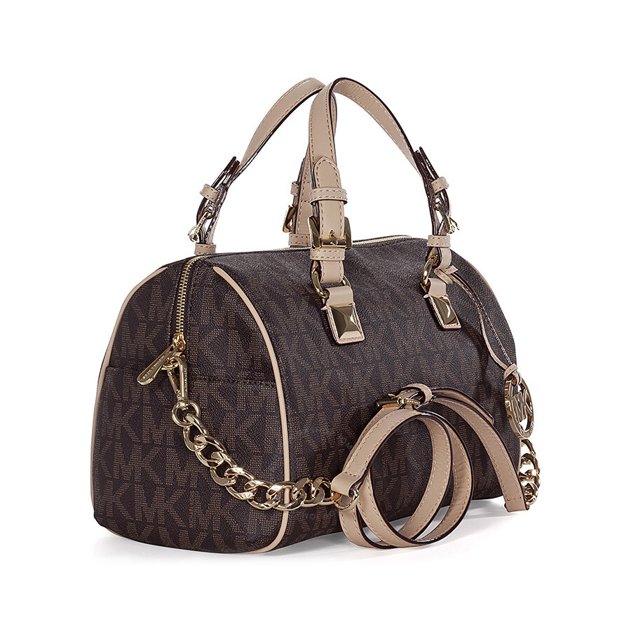 25b1eb8ac8feee Michael Kors Grayson Medium Satchel Handbag in Brown PVC - Grayson ...