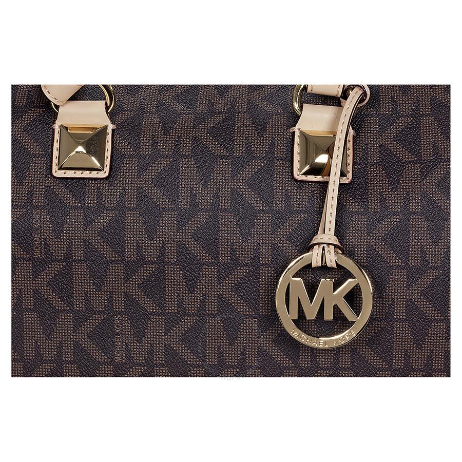 b1b10d1d53a2 Michael Kors Grayson Medium Satchel Handbag in Brown PVC - Grayson ...