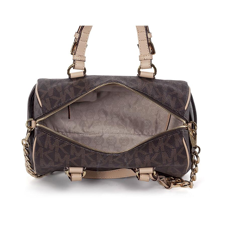 Michael Kors Grayson Medium Satchel Handbag In Brown Pvc