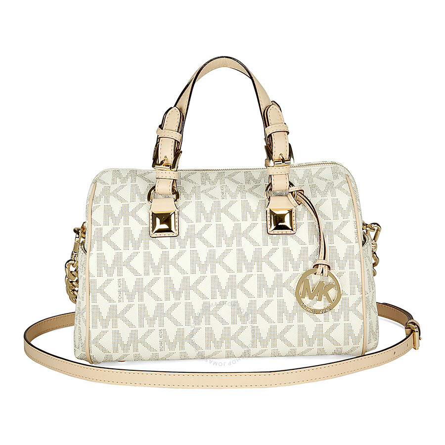 f771a2756c29 Michael Kors Grayson Medium Satchel Handbag in Vanilla PVC - Cream Item No.  30F2GGCS2B-150