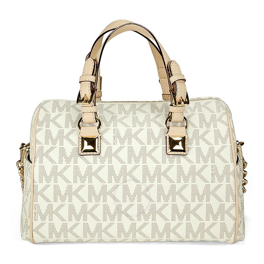 Michael Kors Grayson Medium Satchel Handbag In Vanilla Pvc Cream