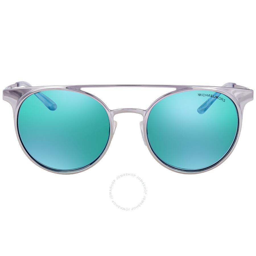 7bb485a727 ... Michael Kors Grayton Teal Mirror Round Ladies Sunglasses MK1030 113725  52 ...