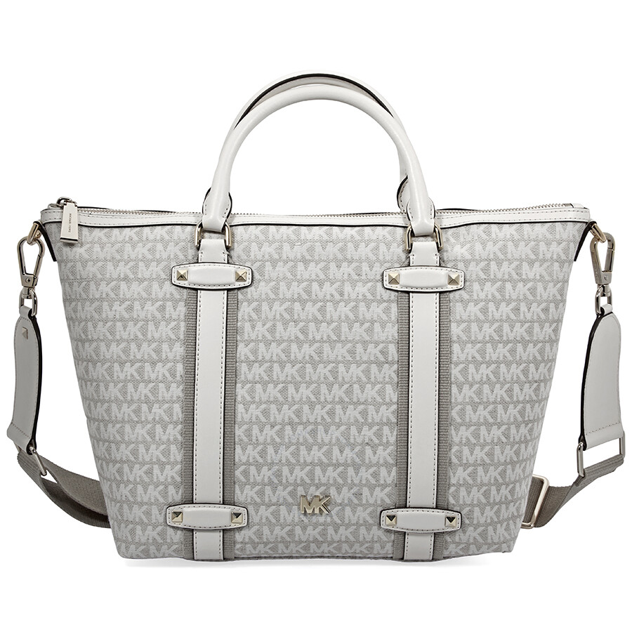 d67ec144bc Michael Kors Griffin Large Jacquard Satchel- Nat/ Light Cream Item No.  30T8TN7S3J-959