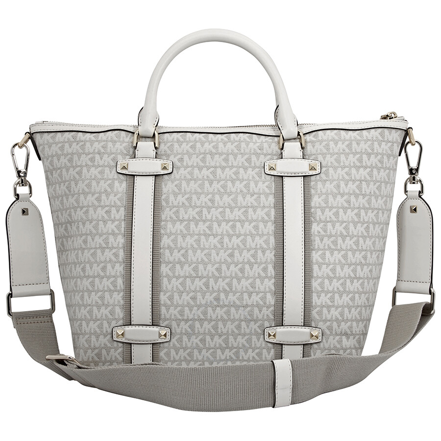 94ac97cf00e5 Michael Kors Griffin Large Jacquard Satchel- Nat/ Light Cream ...