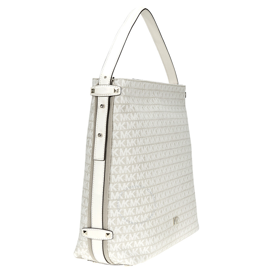 4abd1c32180f Michael Kors Griffin Large Logo Jacquard Shoulder Bag - Cream ...