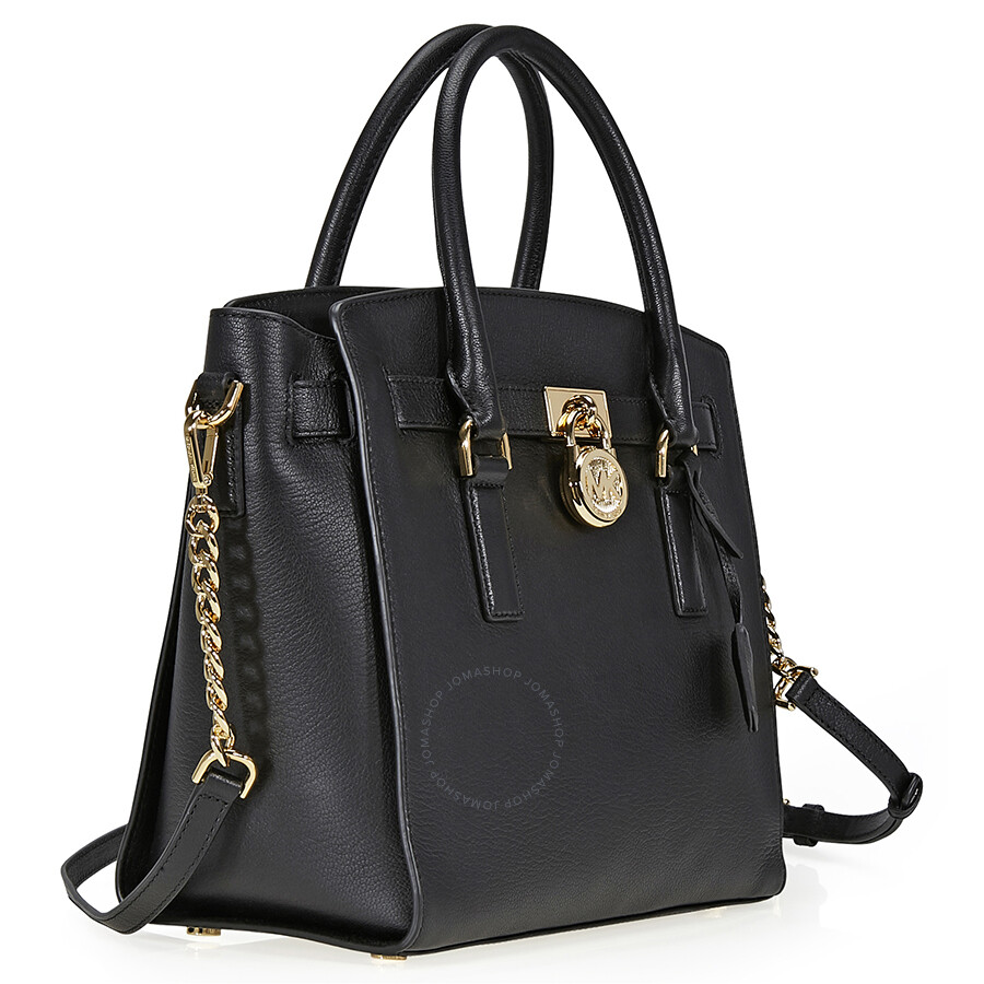 Michael Kors Hamilton Laukku : Michael kors hamilton large pebbled leather satchel black
