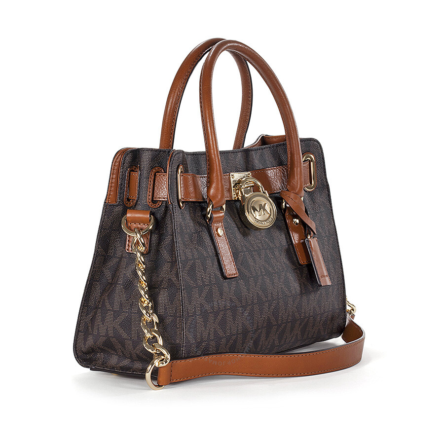 Michael Kors Hamilton Logo PVC Satchel in Brown - Hamilton ...