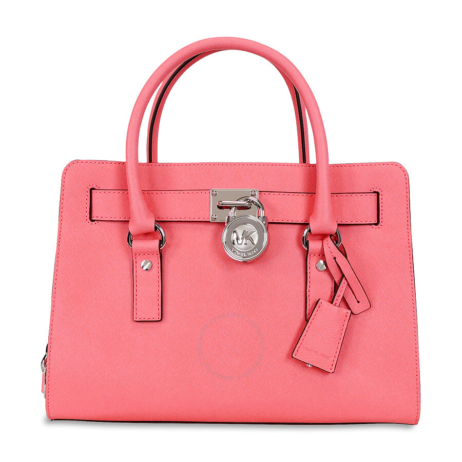 michael kors hamilton saffiano leather medium satchel coral rh jomashop com