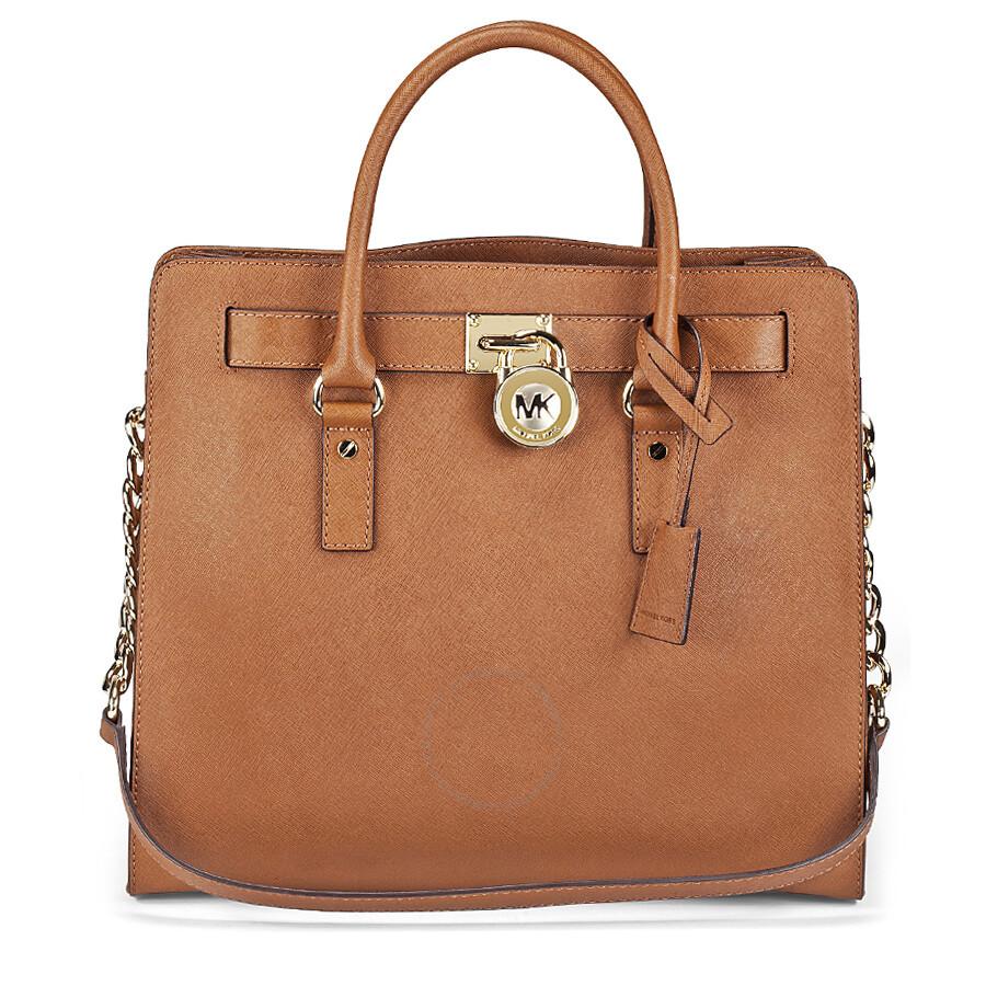 michael kors hamilton satchel handbag in luggage tan. Black Bedroom Furniture Sets. Home Design Ideas