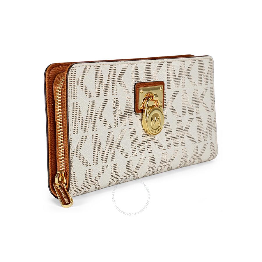 3ed202cb1dabe1 Michael Kors Hamilton Signature Continental Wallet in Vanilla - Cream