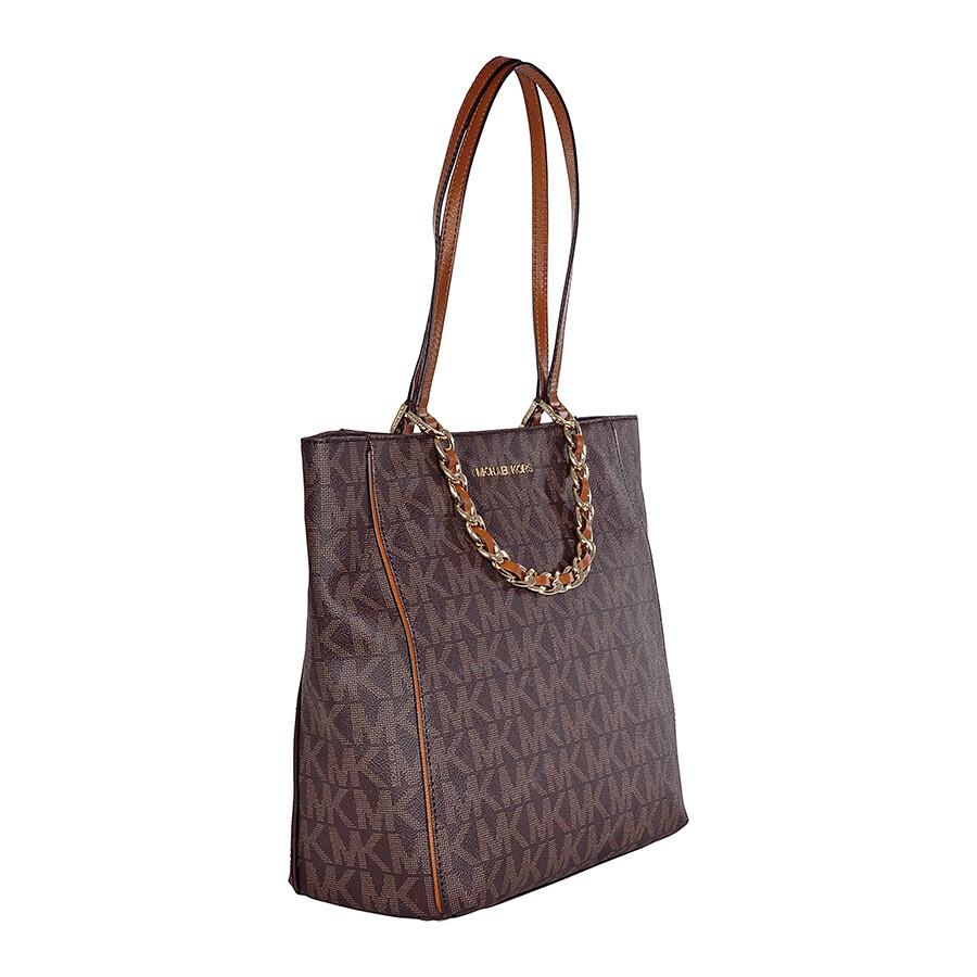 michael kors harper signature tote handbag in brown. Black Bedroom Furniture Sets. Home Design Ideas