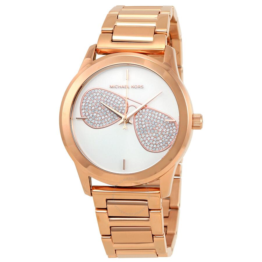 5d10ebcbdea1 Michael Kors Hartman Silver Dial Ladies Rose Gold Tone Watch MK3673 ...