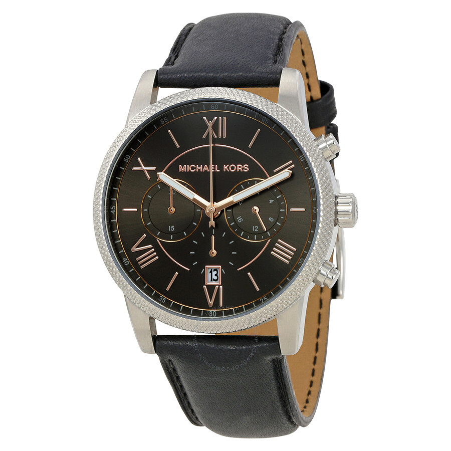 Michael kors hawthorne black dial black leather men 39 s watch mk8393 hawthorne michael kors for Watches michael kors