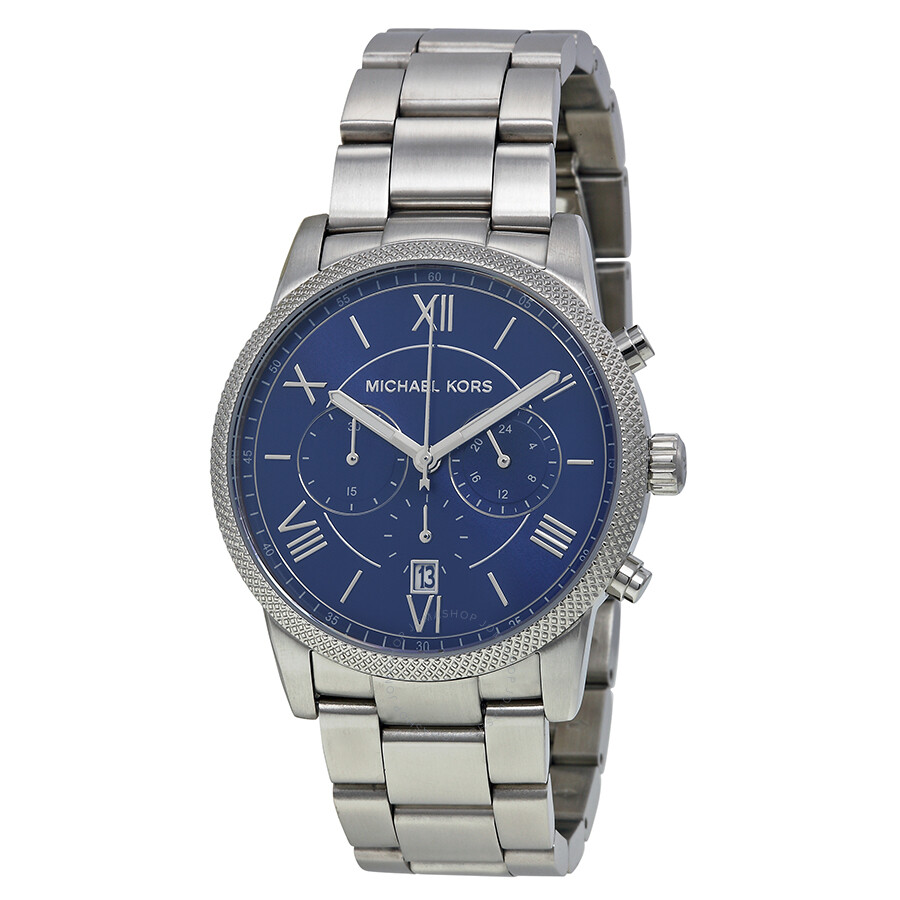 Michael kors hawthorne chronograph blue dial stainless steel men 39 s quartz watch mk8395 for Stainless steel watch