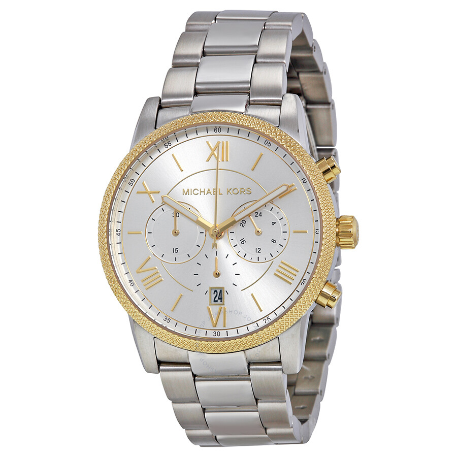 michael kors hawthorne chronograph silver stainless